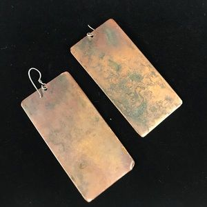 Jewelry - Green and Bronze Textured Earrings